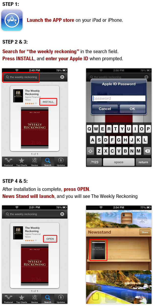 The Weekly Reckoning iPad & iPhone App Downloading Instructions