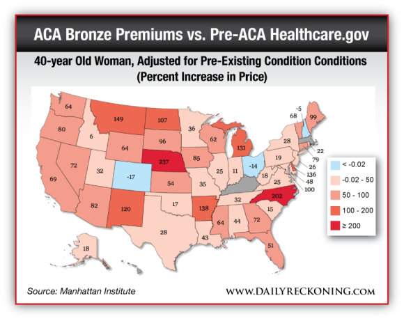 40-year Old Woman, Adjusted for Pre-Existing Condition Conditions (Percent Increase in Price)