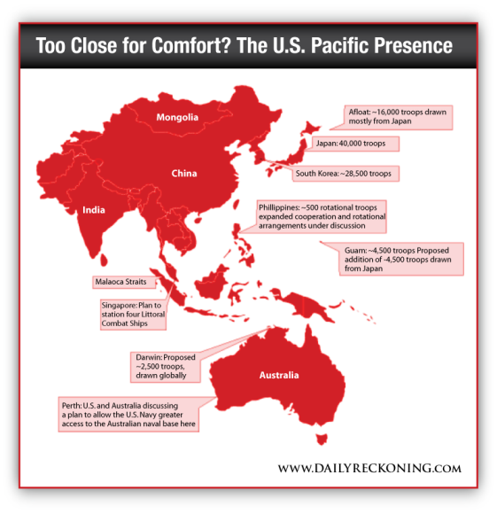 Map of the U.S. Pacific military presence