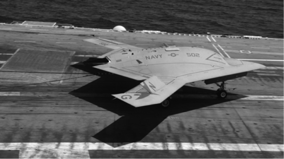 The X-47B Stealth Drone on the deck of the USS George H.W. Bush.