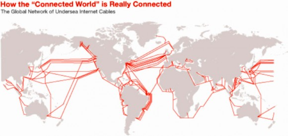 Map Showing the Global Network of Undersea Internet Cables