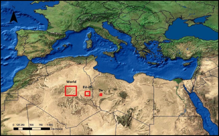 Space in the Sahara Necessary for Solar Panels to Power the World