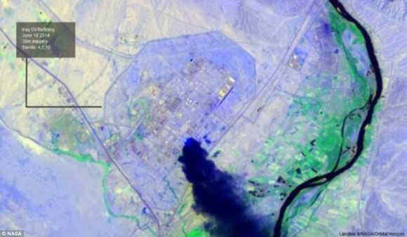 NASA LandSat Image of Iraq's largest oil refinery