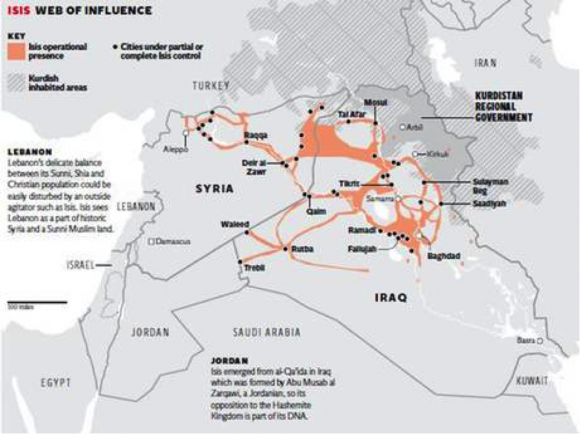 Map of ISIS Influence in the Middle East