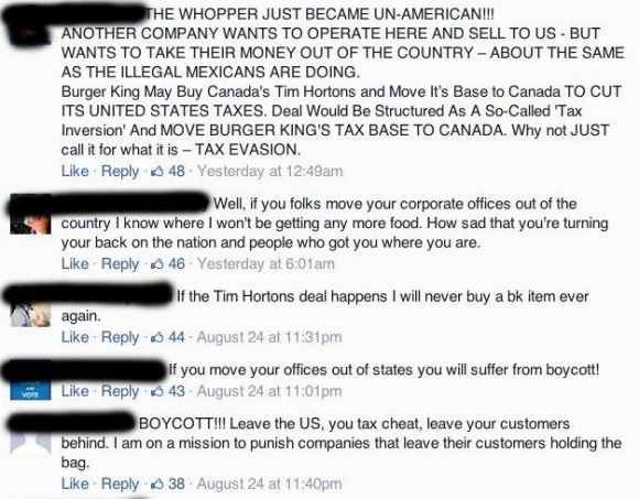 Facebook Reactions to Burger King Buying Tim Horton's