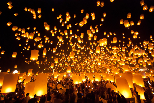 Floating Lanterns in Chan Mai
