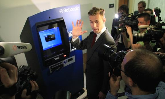 Robocoin CEO Jordan Kelley at a Bitcoin ATM
