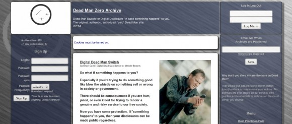 "Dead Man Zero's Website in the ""Deep Web"""
