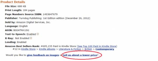 "Amazon ""Lower Price"" Link"