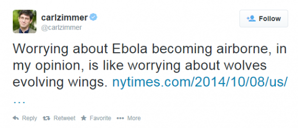 NY Times Columnist Carl Zimmer Tweets Denial About Ebola Becoming Airborne