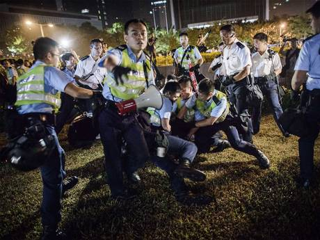 Hong Kong Police Breaking Up Protests