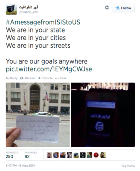 ISIS Tweets in Front of Chicago's Old Republic Building and the White House