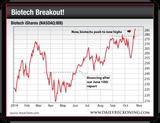 Biotech Stocks: Biotech iShares (NASDAQ:IBB), Jan. 2014-Oct. 2014