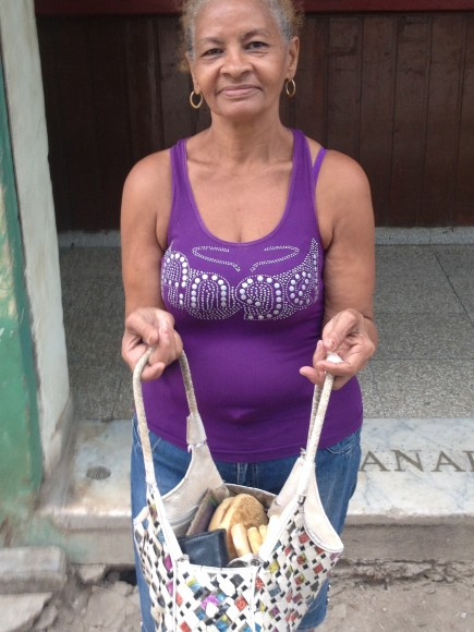 Carmen - a Cuban Woman - After Receiving Her Bread Rations