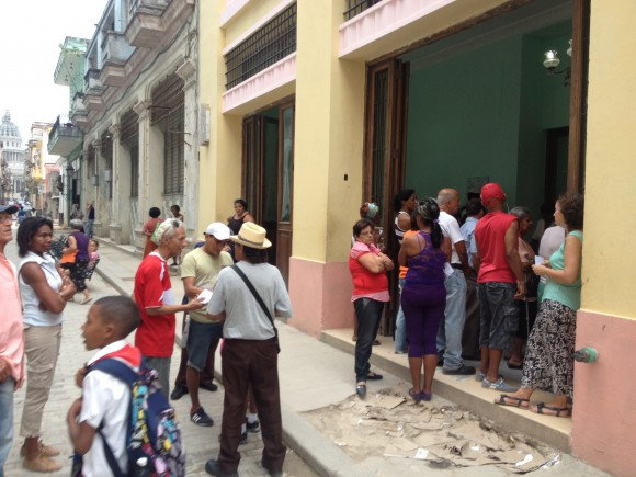 Cuban Citizens Lining Up at the Bread Rations Building