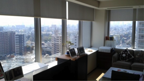 Great view through the windows of an apartment in Tokyo