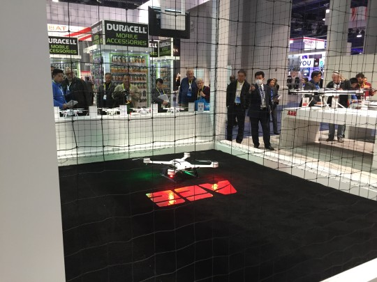 A quadcopter gets ready for a demonstration at CES 2016