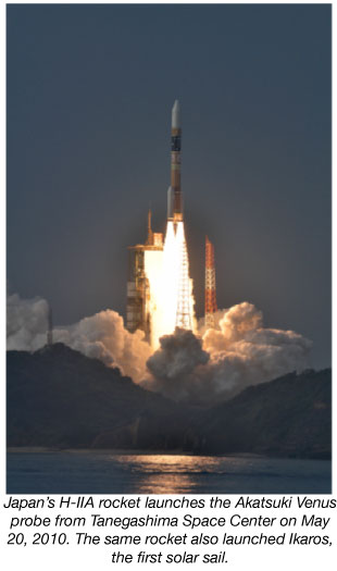Japan's H-IIA rocket launches the Akatsuki Venus probe from Tanegashima Space Center on May 20, 2010. The same rocket also launched Ikaros, the first solar sail.