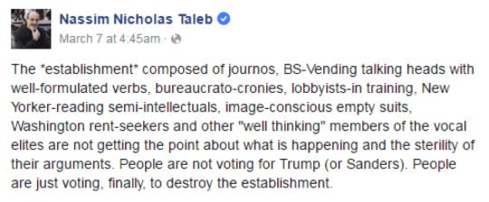 Nassim Nicholas Taleb's facebook post