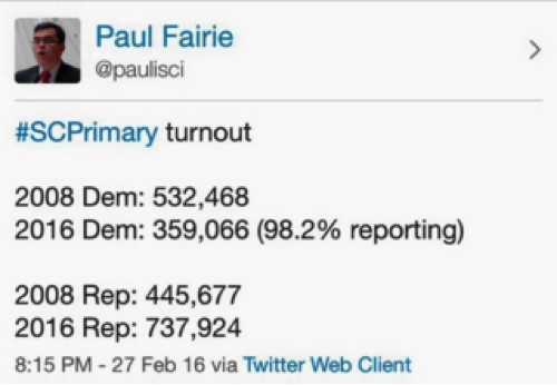 Paul Fairie's Turn Out Tweet