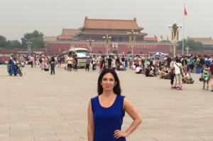 Nomi Prins in Tiananmen Square