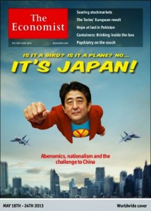 The Economist's front cover for May features a flying Japanese man with a Yen superhero shirt