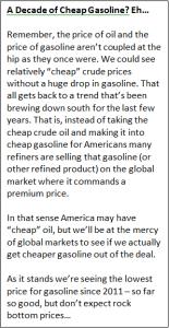 A Decade of Cheap Gasolione