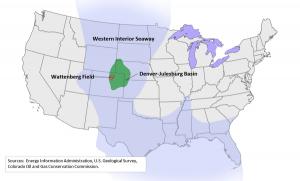 Oil Deposit Map Showing Denver-Julesburg Basin and Wattenberg Field