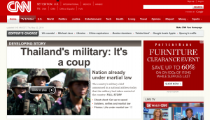 CNN Webpage With Thailand Coup Headline