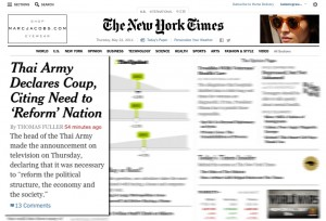 New York Times Webpage With Thailand Coup Headline
