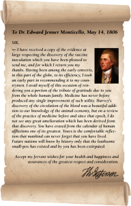 Letter from Thomas Jefferson to Dr. Edward Jenner Monticello