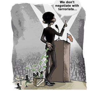 Political Cartoon of President Obama Giving Money for Weapons