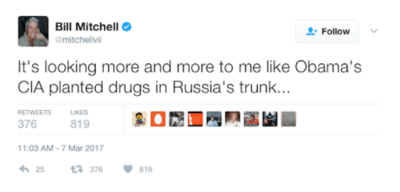 Bill Mitchell: It's looking more and more to me like Obama's CIA planted drugs in Russia's trunk...